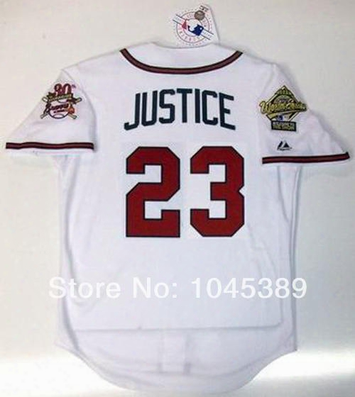 2017 New David Justice 23 Atlanta Braves 1995 World Series 30th Home White Road Grey Baseball Jersey Sz (s-6xl) All Sewn Top Quality
