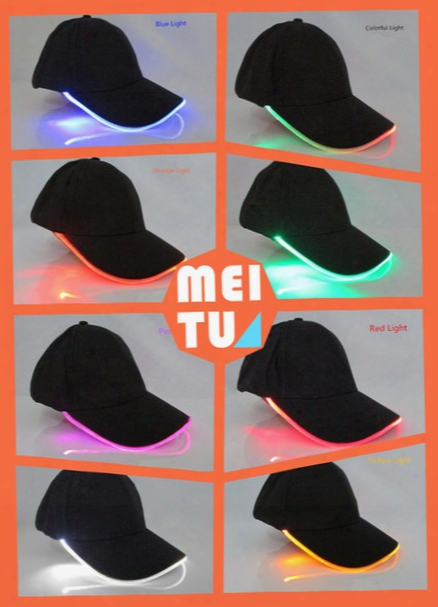 2017 New Fashion 8 Colors Led Light Up Baseball Caps Luminescent Baseball Hats Sun Hats Optical Fiber Led Lights Caps Fast Delivery