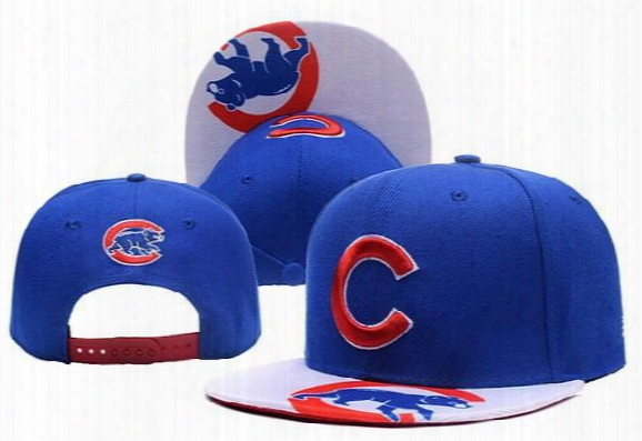2017 New Men's Blue Color Snapback Hats Team Logo Embroidery Sport Chicago Cubs Adjustable Baseball Caps With Print Visor