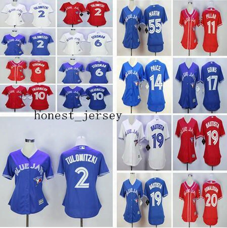 2017 New Womens Toronto Blue Jays 20 Josh Donaldson 19 Jose Bautista 11 Kevin Pillar 2 Troy Tulowitzki Baseball Jerseys Free Drop Shipping