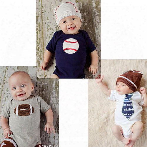 2017 Newborn 3styles Short Sleeve Romper Spring Summer Jumpsuits Bebes Pajama Baseball Football Necktie Print One-pieces Cloth