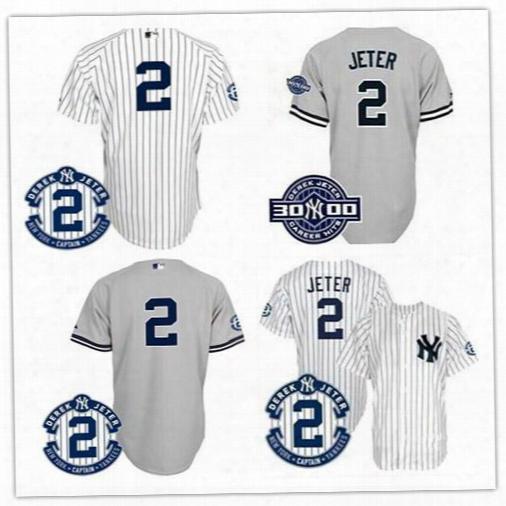 2017 Ny/new York Yankees #2 Derek Jeter Baseball Jersey Gray White Pinstrip W/commemorative Retirement Patch.100% Stitched.ssize M-xxxl