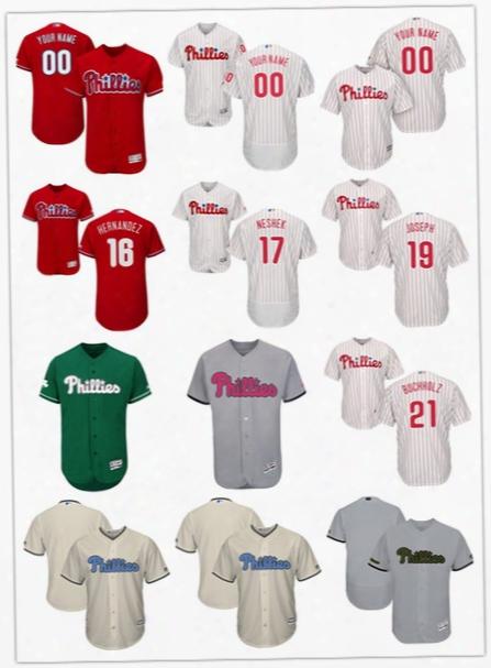 2017 Philadelphia Phillies 16 Cesar Hernandez 17 Pat Neshek 19 Tommy Joseph 21 Clay Buchholz 23 Aaron Altherr Flex Base Baseball Jerseys