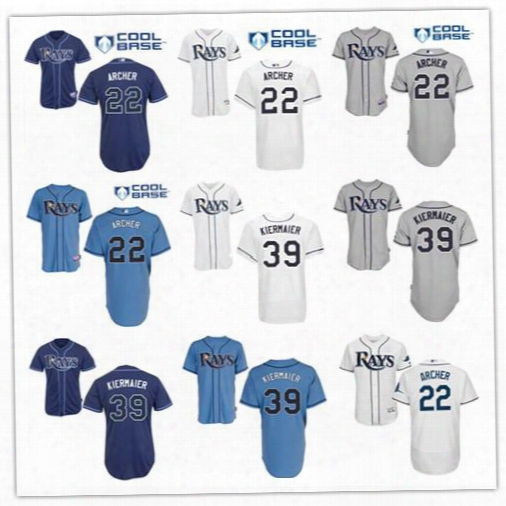 2017 Tampa Bay Rays Jerseys Baseball 22 Chris Archer 39 Kevin Kiermaier Jersey Color White Grey Blue Cool Base Shirts Authentic Stitched