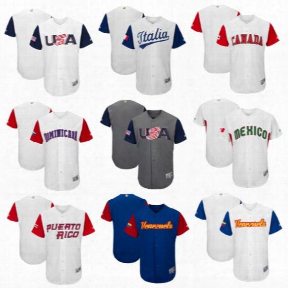 2017 World Baseball Classic Jersey Puerto Rico Canada Dominicana Americ Ltalia Venesuela Mexico Cuba Wbc Jerseys Free Shipping