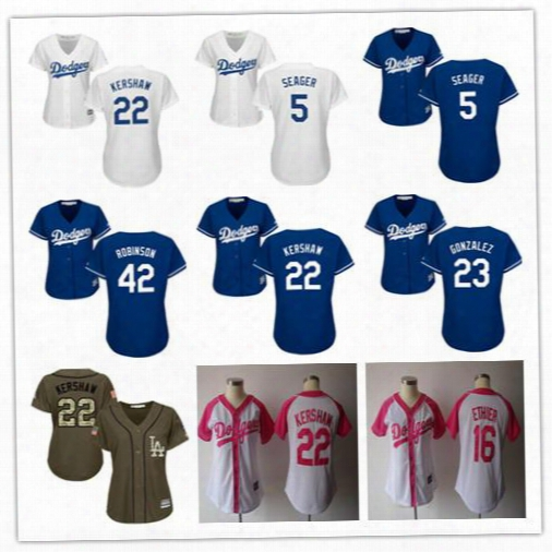 22 Clayton Kershaw Womens Jerseys 2017 Los Angeles Ladies 5 Corey Seager 42 Jackie Robinson 23 Adrian Gonzalez 16 Andre Ethier Jersey Shirts