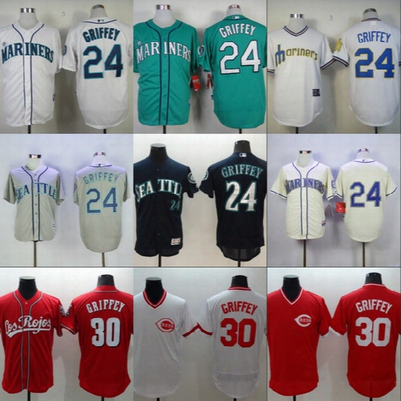 #24 Ken Griffey Jr Mariners Jersey #30 Ken Griffey Jr Cincinnati Reds Baseball Jersey 2016 Hall Of Fame Induction Big & Tall Baseball Jersey