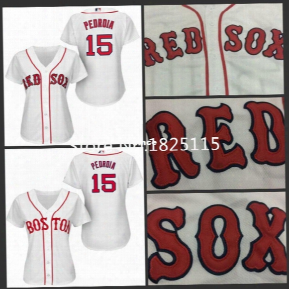 30 Teams-boston Red Sox Womens Baseball Jerseys 15 Dustin Pedroia Ladies Jersey White Embroidery Logos 100% Stitched
