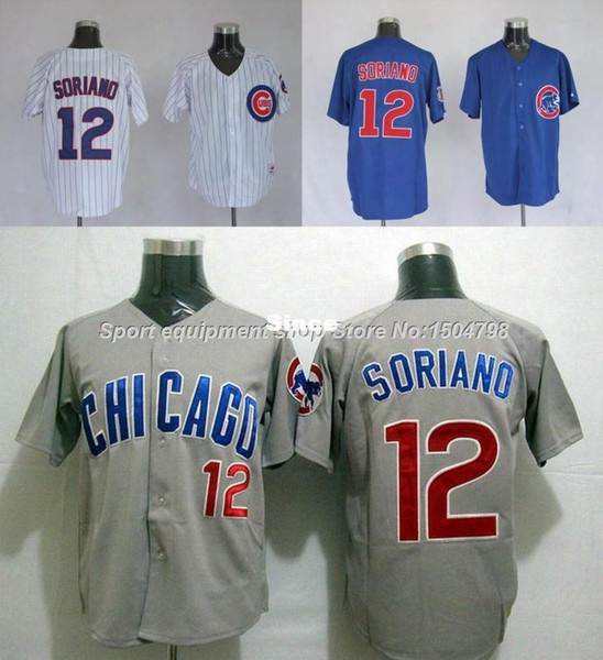 30 Teams- Cheap Men's Chicago Cubs Jersey #12 Alfonso Soriano Baseball Jersey White/gray/blue,authentic Stitched Cool Base Baseball Jersey