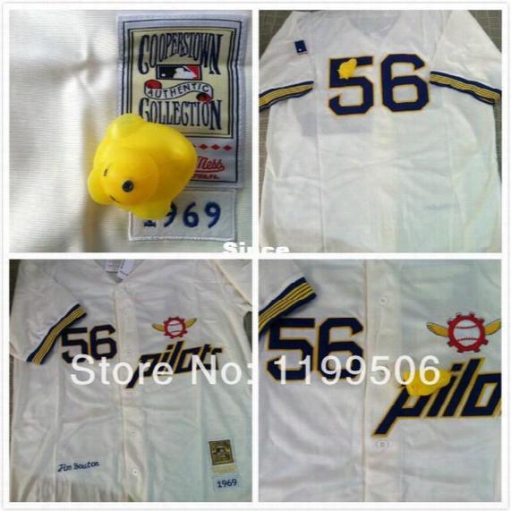 30 Teams- Outlet Free Shipping- Seattle Pilots 56 Jim Bouton 1969 Throwback Men's Baseball Shirt/jersey Size M-3xlsale