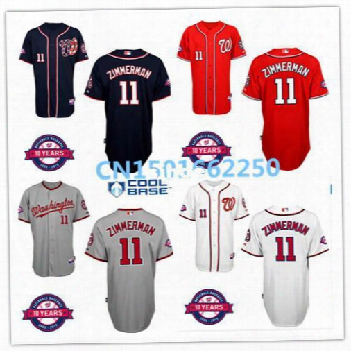 30 Teams- Ryan Zimmerman Washington Nationals Jersey Men's Embroidery Red Gray Authentic Cheap Cool Base Baseball Jersey