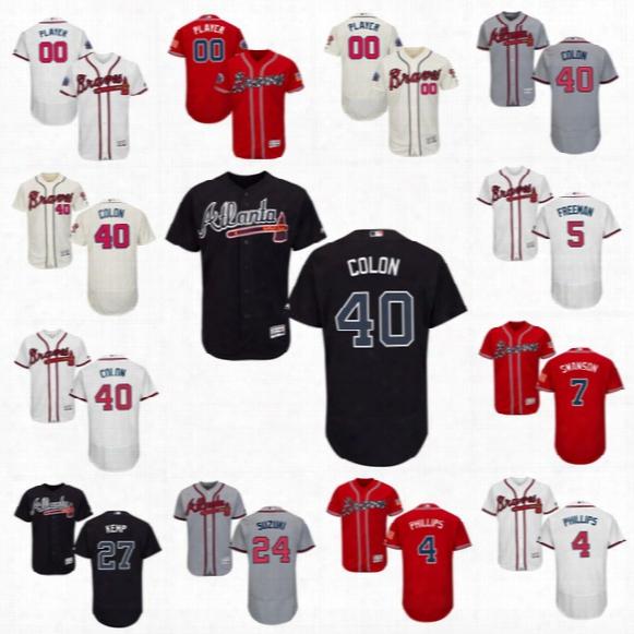 #40 Bartolo Colon Atlanta Braves Commemorative Patch 7 Dansby Swanson 27 Matt Kemp 4 Phillips 5 Freddie Freeman Flexbase Onfield Jerseys