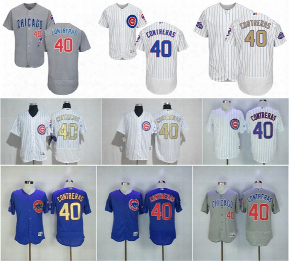 40 Willson Contreras Jerseys 2017 World Serise Champions Men's Chicago Cubs Gold Blue Flex Base Cool Base Baseball Jerseys Embroidery Logo