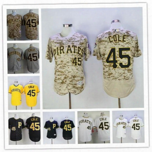 #45 Gerrit Cole Jersey Flexbase New Cooperstown Grey Pinstripey Ellow Camo White Black Grey Pittsburgh Pirates Jerseys Baseball Stitched