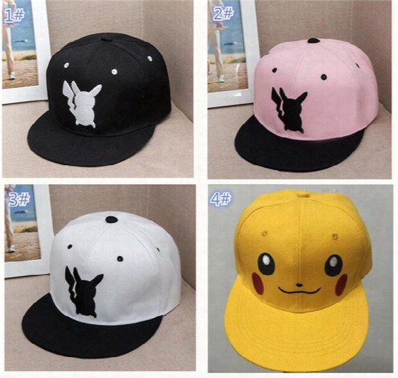 4colors Poke Hats Snapback Cotton Baseball Cartoon Children Adult Sports Hip Hop Picacho Baseball Hats Hockey Sport Hat D855