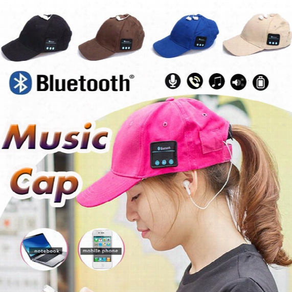 5 Colors Bluetooth Music Earphone Hat Baseball Caps Sunhat With Bluetooth Travel Sports Bluetooth Headset Stereo  Headphone Free Dhl