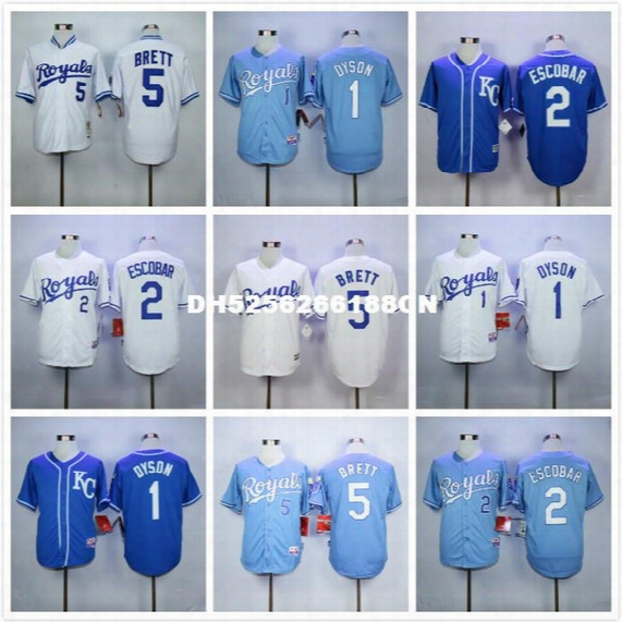5 George Brett 1 Jarrod Dyson Throwback Baseball Jerseys Blue Gray White