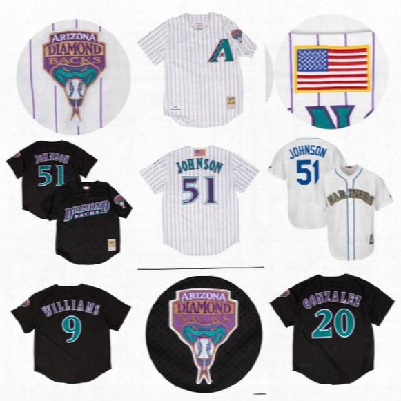 #51 Randy Johnson #20 Luis Gonzalez #9 Matt Williams Arizona Diamondbacks Throwback Baseball Jerseys All Stitched Baseball Jersey