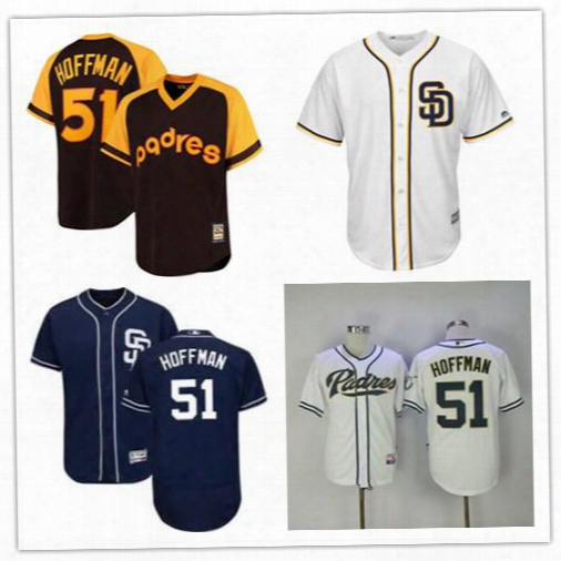51 Trevor Hoffman Jersey 2017 Cool Base Flexbase San Diego Padres Trevor Hoffman Embroidery Baseball Jerseys Cheap White Dark Blue Brown