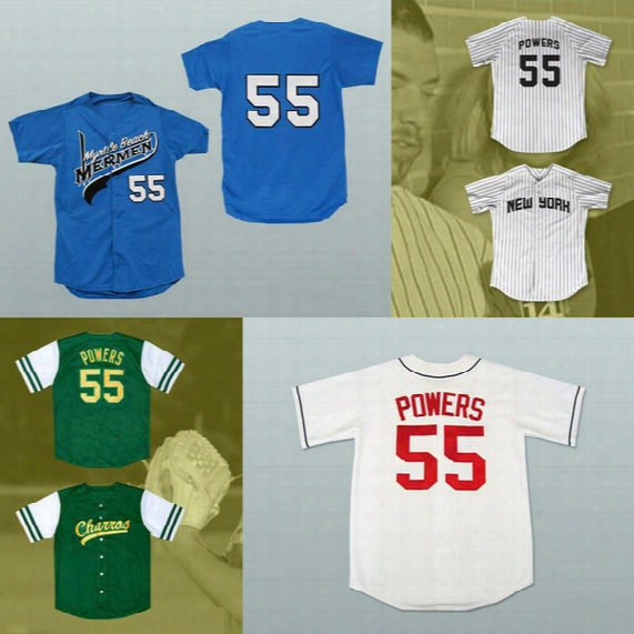 #55 Kenny Powers Mexican Charros Atlanta New York Myrtle Beach Mermen All Stitched Baseball Jerseys Free Shipping
