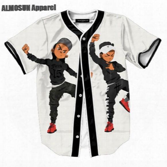 Almosun Dancing Guys Jersey All Over Print Baseball T-shirt Street Hipster Hip Hop Summer Tops Men Casual Dance Clothing