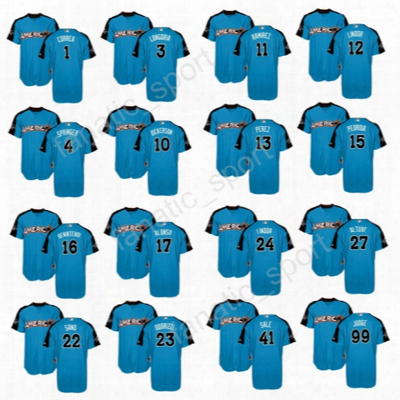 American League Blue 2017 All Star Jerseys Baseball 22 Miguel Sano 99 Aaron Judge 27 Mike Trout 27 Jose Altuve 12 Francisco Lindor 34 Ortiz