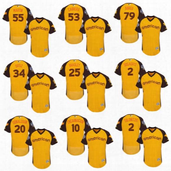 American League Yellow All Star Baseball Jerseys 2016 Game 79 Jose Abreu 34 David Ortiz 20 Josh Donaldson 19 Jose Bautista Flexbase Yellow