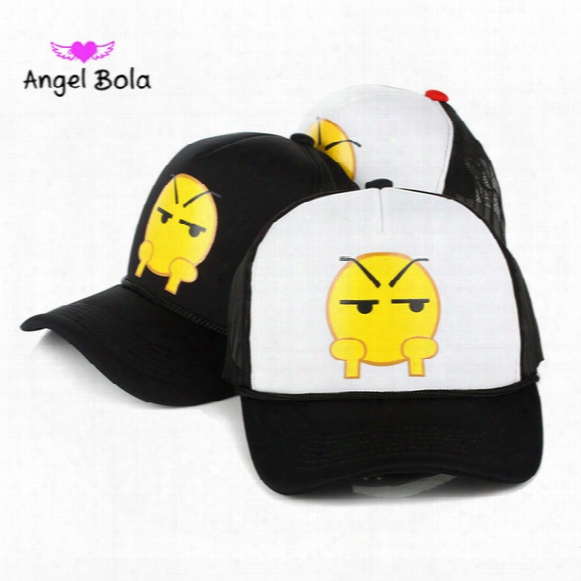 Angel Bola Cartoon Ins Qq Emoji Pattern Caps New Boys Girls Baseball Cap Flat Along Parental Hip Hop Emoji Pattern Hats
