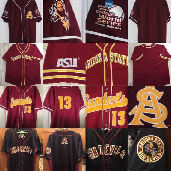Arizona State Sun Devils 2007 College World Series Baseball Jersey 100% Stitched Embroidery Logos Retro Baseball Jerseys Any Name Number