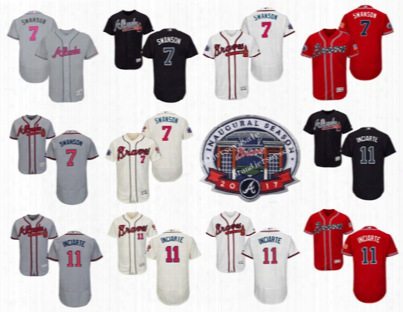Atlanta Braves 7 Dansby Swanson Gray 2017 Mother's Day Jerseys 11 Ender Inciarte Majestic Navy Red White Cool Base Flex Base Baseball Jersey