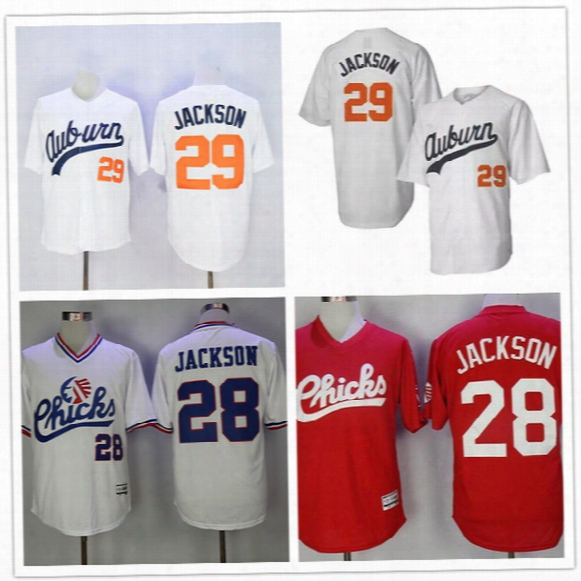 Auburn Tigers #29 Bo Jackson White Throwback Jersey Cheap College Vintage 1986 Memphis Chicks #28 Red Baseball Collection Stitched Jerseys