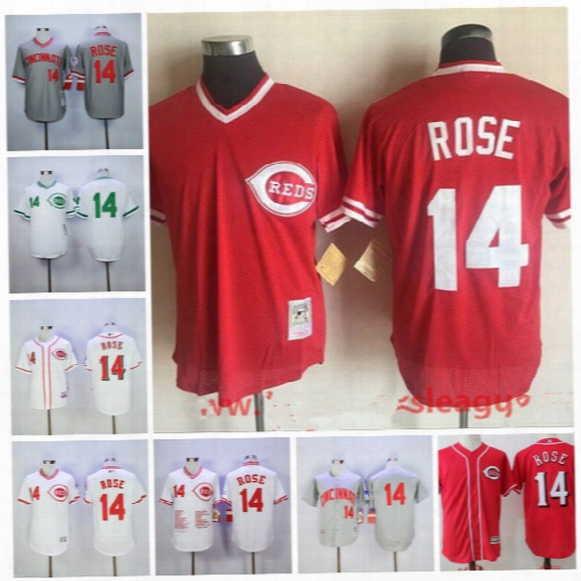 Baseball Jerseys Cincinnati Reds Mitchell And Ness #14 Pete Rose Red Throwback Cooperstown Pullover Flexbase Cool Base Stitched Jerseys