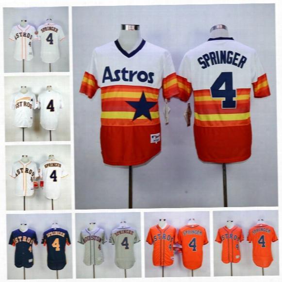 Best Quality 4 George Springer Jersey Houston Astros Baseball Jerseys George Springer Uniforms Navy Blue White Grey Orange Rainbow