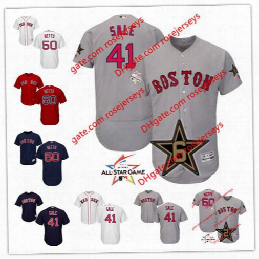 Boston Red Sox 2017 All-star Game Worn Jersey #41 Chris Sale 50 Mookie Betts Gray Road White Home Navy Red Stitched Baseball Jereys