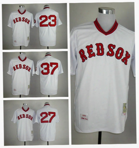 Boston Red Sox 27 Carlton Fisk Throwback Jerseys Baseball 37 Bill Lee 23 Blake Swihart Jersey Flexbase Retro Pullover White Blue Red Grey