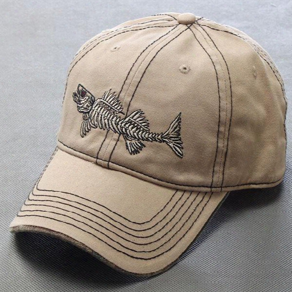 Brand Baseball Hat 100% Pure Cotton Fashion Casual Unisex Men's Outdoor Fish Bone Adjustable Baseball Caps Snapback Sports Hat For Women