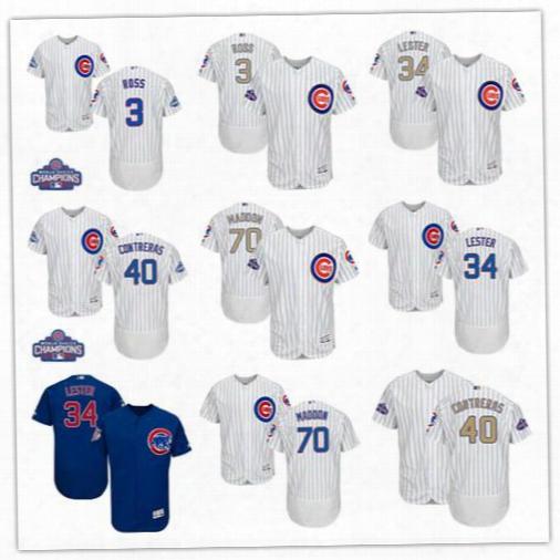 Champions Patch 2016 World Series Chicago Cubs Basebal1 70 Joe Maddon 34 Jon Lester 40 Willson Contreras 3 David Ross Flexbase Jerseys Top