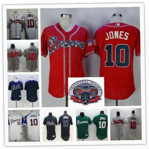 Cheap Chipper Jones Jersey Red White Blue Alternate Throwback Atlanta Bravws Chipper Jones 10 Jerseys Blank Cream Grey Flex Cool Base Shirts