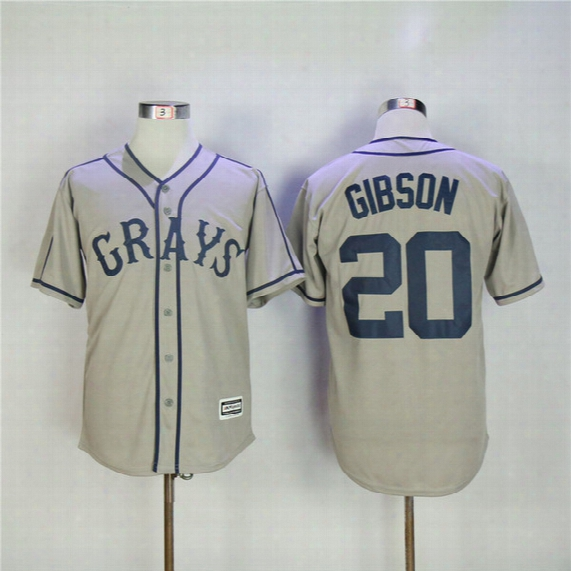 Cheap Homestead Grays Negro League Button Down Josh Gibson Jersey Team Grey Men's Embroidery 20 Josh Gibson Baseball Jerseys