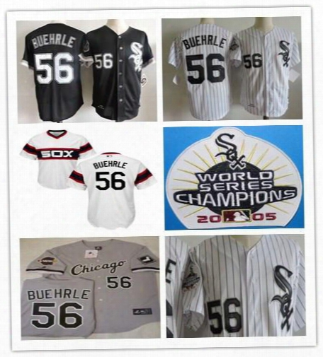 Cheap Mens Chicago White Sox #56 Mark Buehrle White Home Gray Goad Black 2005 World Series Patch Sewn On Collection Baseball Jerseyz
