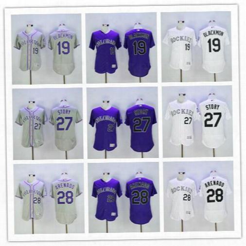Cheap Mens Colorado Rockies #28 Nolan Arenado White 27 Trevor Story Purple 19 Blackmon Gray Stitched Baseball Flex Cool Base Blank Jerseys
