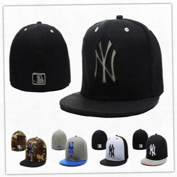 Cheap Yankees Fitted Caps Baseball Cap Embroidered Team Ny Letter Size Flat Brim Hat Yankees Baseball Cap Size
