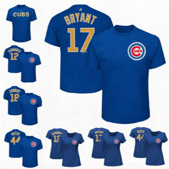 Chicago Cuhs #12 Schwarber #17 Bryant #18 Zobrist #44 Rizzo Majestic Royal 2017 Gold Program Name & Number T-shirt