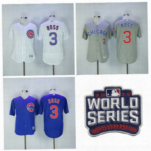 Chicago Cubs 3 David Ross Jersey 2016 World Succession Postseason David Ross Baseball Jerseys Flexbase Cool Base Home Blue Pinstripe White Gray