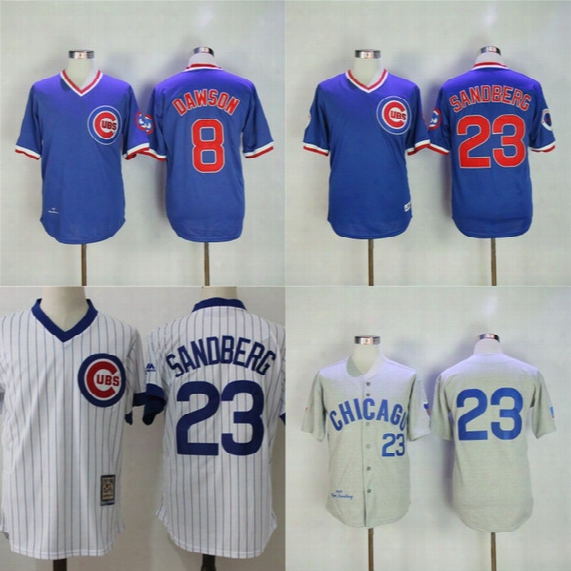 Chicago Cubs Cooperstown Collection Baseball Jersey Mens Andre Dawson 1987 Ryne Sandberg 1969 1984 Throwback Baseball Jerseys Cheap