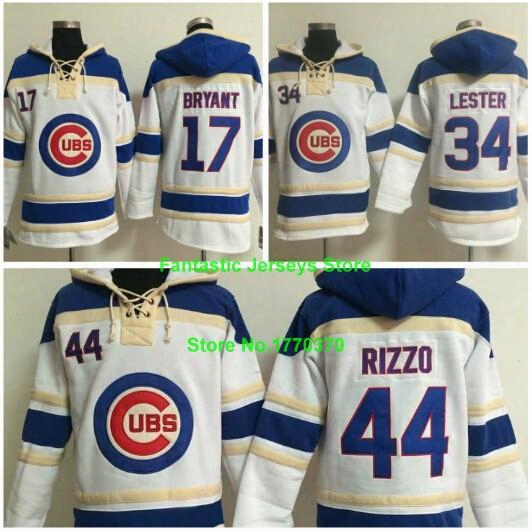 Chicago Cubs Jersey 17 Kris Bryant 34 Jon Lester 44 Anthony Rizzo Pullover Hooded Sweatshirts 100% Stitched Authentic Quality
