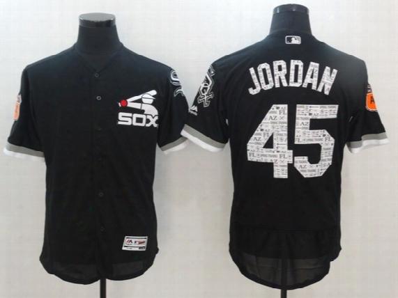 Chicago White Sox Jersey 2017 Spring Training 45 Jordan Black In Stock Embroidery Logos Flex Base On-field Baseball Team Jerseys