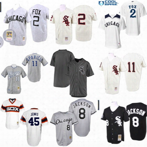 Chicago White Sox Throwback Jersey #2 Nellie Fox #8 Bo Jackson #11 Luis Aparicio Men's 100% Stitched Embroidery Logos Baseball Jerseys