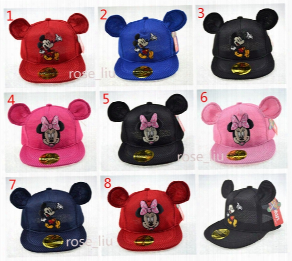 Children Mickey Minne Ear Hat Cap 8 Color New Boys Girls Ball Caps Cartoon Paillette Mesh Baseball Hockey Mesh Hat B