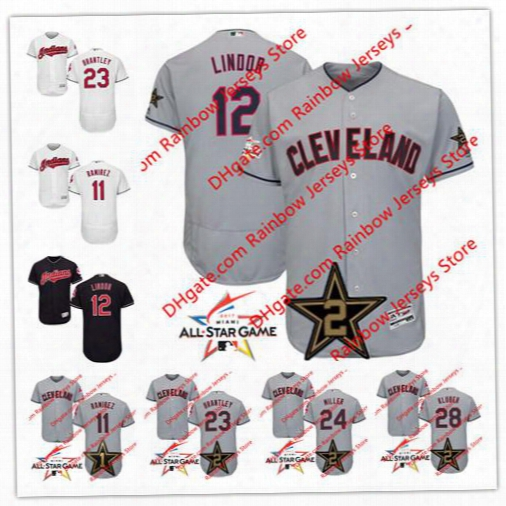 Cleveland Indians 2017 All-star Game Worn Jerseys 11 Jose Ramirez 12 Francisco Lindor 23 Michael Brantley 24 Andrew Miller 28 Corey Kluber
